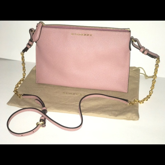 Authentic Burberry nude leather crossbody baguette